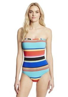 Jones New York Women's Striped Bandeau One Piece Swimsuit