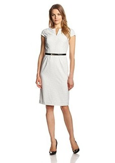 Jones New York Women's Tattersall Mitered Sheath Dress