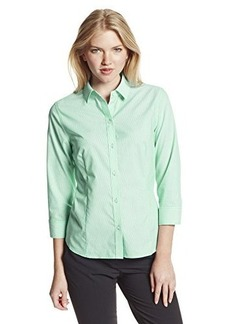 Jones New York Women's Three Quarter Sleeve Button Front Shirt