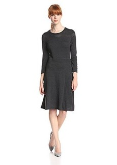 Jones New York Women's Three-Quarter Sleeve Crewneck A-Line Sweater Dress