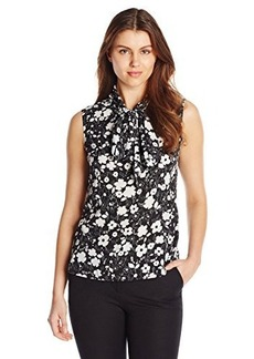 Jones New York Women's Tie Neck Shell Top