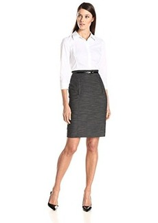 Jones New York Women's Tufor Dress with Elbow Sleeve