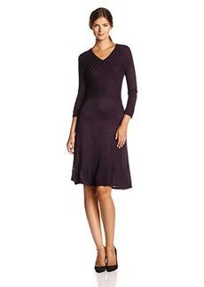 Jones New York Women's V-Neck Fit-and-Flare Sweater Dress