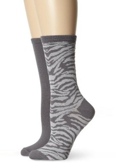 Jones New York Women's Zebra and Solid Crew 2 Pair Sock Pack
