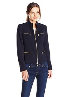 Jones New York Women's Zipper Detail Jacket Navy