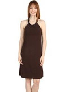 Jones New York Wood Bead Necklace Halter Dress