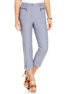 Jones New York Zip-Pocket Cropped Straight-Leg Pants