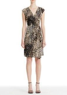 Jungle Print Faux Wrap Dress