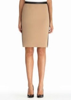 Knit and Faux Leather Slim Skirt