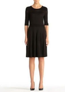 Laser Cut Sweater Dress with 3/4 Sleeves