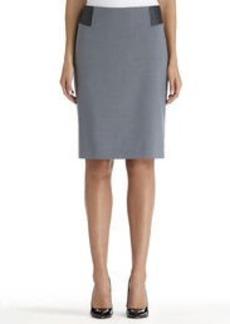 Leather Blocked Pencil Skirt