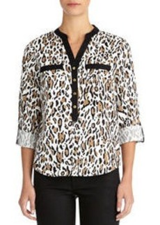 Leopard Print Blouse (Plus)