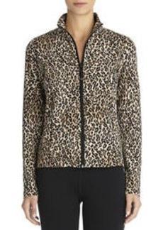 Leopard Print Mock Neck Jacket