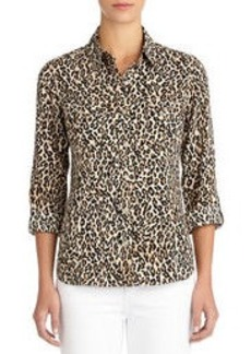 Leopard Print Shirt with Roll Sleeves (Plus)
