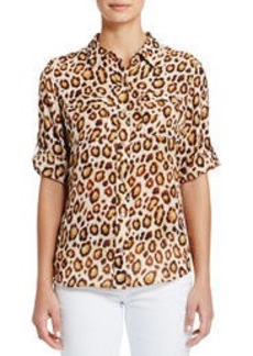 Leopard-Print Shirt with Roll Sleeves (Plus)