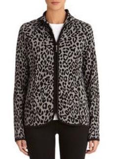 Leopard Print Zip Front Cotton Jacket (Petite)