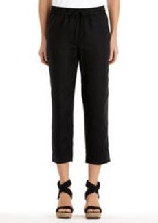 Linen Pull-On Cropped Pants (Plus)