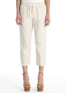 Linen Pull-On Pants with Back Patch Pocket