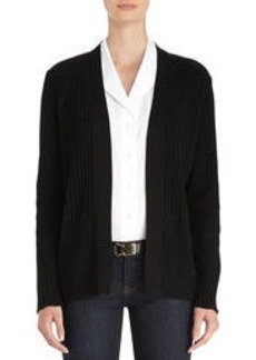 Long Sleeve Black Open Front Cardigan (Plus)