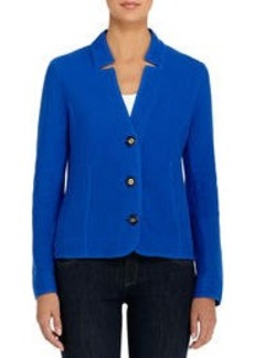 Long Sleeve Blue Cotton Cardigan (Plus)