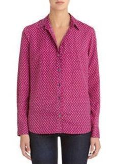 Long Sleeve Button Front Blouse (Petite)