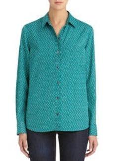 Long Sleeve Button Front Blouse (Plus)