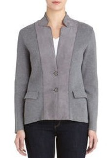 Long Sleeve Cardigan with Faux Suede Accents