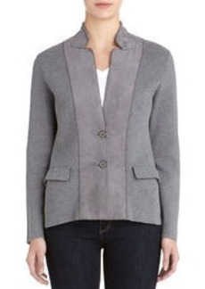 Long Sleeve Cardigan with Faux Suede Accents (Petite)