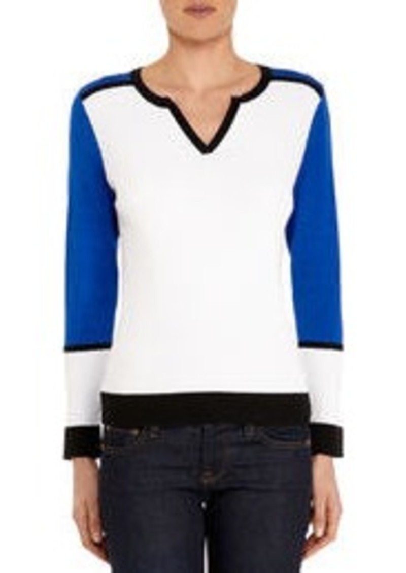 Long Sleeve Color Block Crew Neck Pullover
