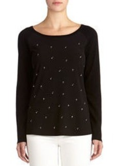 Long Sleeve Crew Neck Pullover Blouse (Petite)