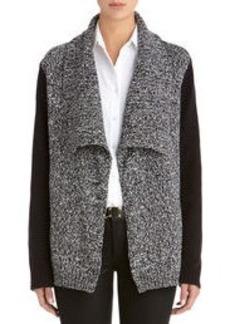 Long Sleeve Drape Front Cardigan (Plus)