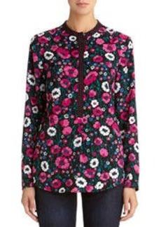 Long Sleeve Floral Blouse (Plus)