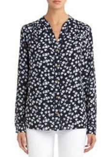 Long Sleeve Floral Blouse with Crew Neck (Plus)