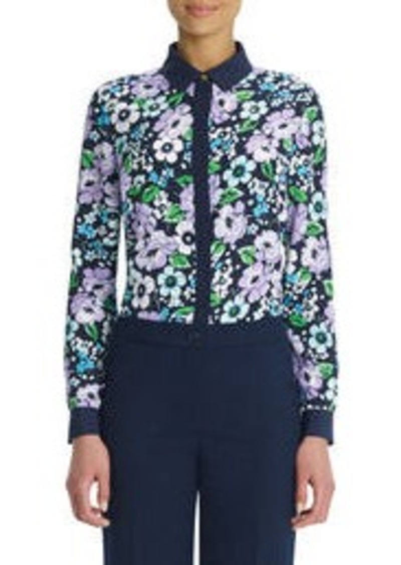 Long-Sleeve Floral Blouse with Hidden Placket (Petite)