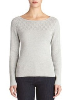 Long Sleeve Lurex(R) Sweater with Boat Neck