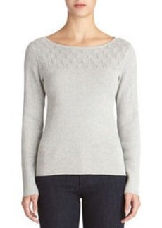 Long Sleeve Lurex(R) Sweater with Boat Neck (Petite)
