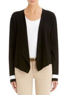Long-Sleeve Open Front Cardigan (Plus)