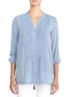Long Sleeve Pintucked Shirt with Roll Tab Sleeves