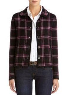 Long Sleeve Plaid Cardigan Sweater (Plus)