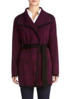 Long Sleeve Plaid Cardigan Sweater with Belt