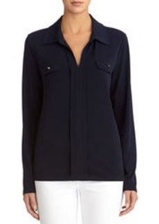 Long-Sleeve Pullover Shirt with Split Collar (Petite)
