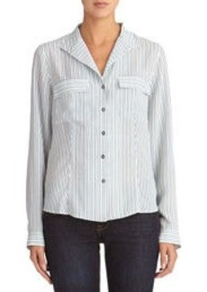 Long Sleeve Shirt with Pop-Up Collar (Petite)