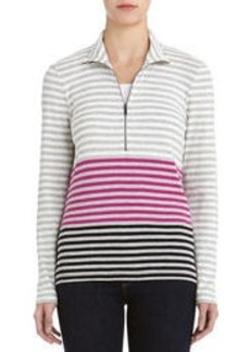 Long Sleeve Striped Cotton Mock Neck Shirt