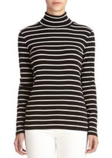 Long Sleeve Striped Cotton Turtleneck (Petite)