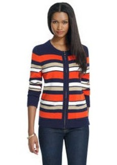 Long Sleeve Striped Sweater Jacket with Pockets