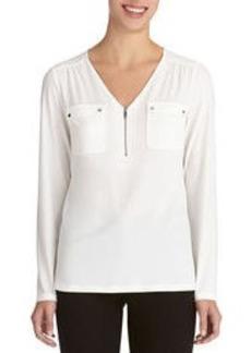 Long Sleeve V-Neck Blouse (Petite)