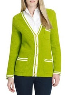 Long Sleeve V-Neck Cardigan with Pockets (Petite)