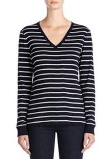 Long-Sleeve V-Neck Cotton Tee Shirt