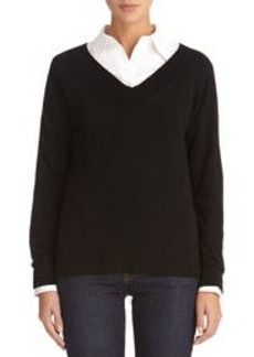 Long Sleeve V-Neck Sweater (Plus)