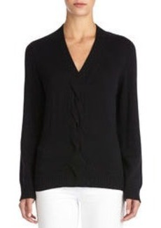 Long Sleeve V-Neck Sweater with Center Cable